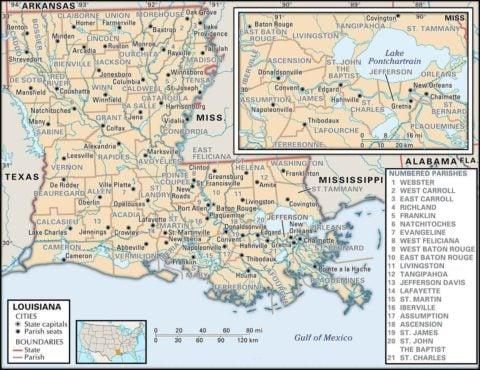 State Map of Louisiana Parish Boundaries and Parish Seats