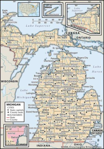 State Map of Michigan state with the counties and the county seats