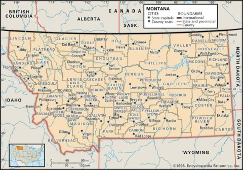 State Map of Montana County Boundaries and County Seats