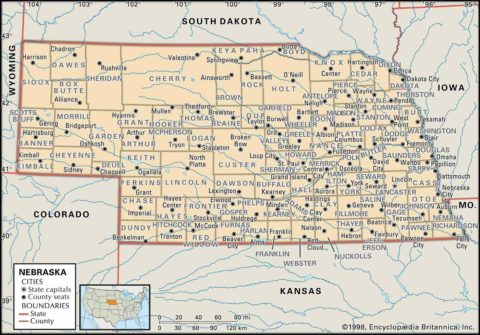 State Map of Nebraska County Boundaries and County Seats