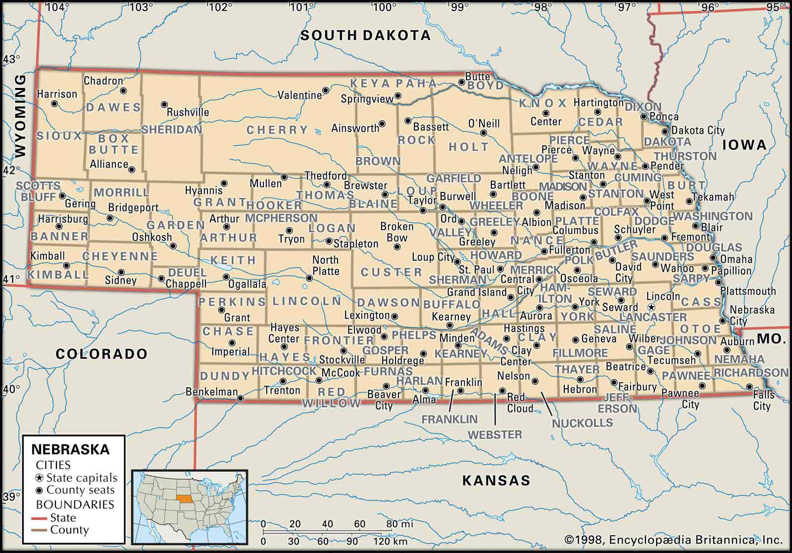 nebraska public land map Old Historical City County And State Maps Of Nebraska nebraska public land map