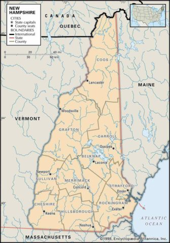 State Map of New Hampshire County Boundaries and County Seats