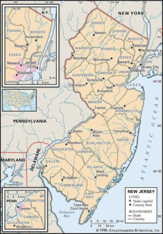 State Map of New Jersey County Boundaries and County Seats
