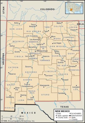 State Map of New Mexico County Boundaries and County Seats
