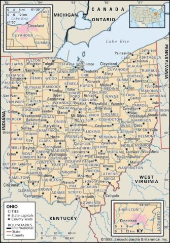 State Map of Ohio County Boundaries and County Seats