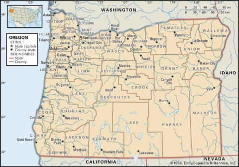 State Map of Oregon County Boundaries and County Seats