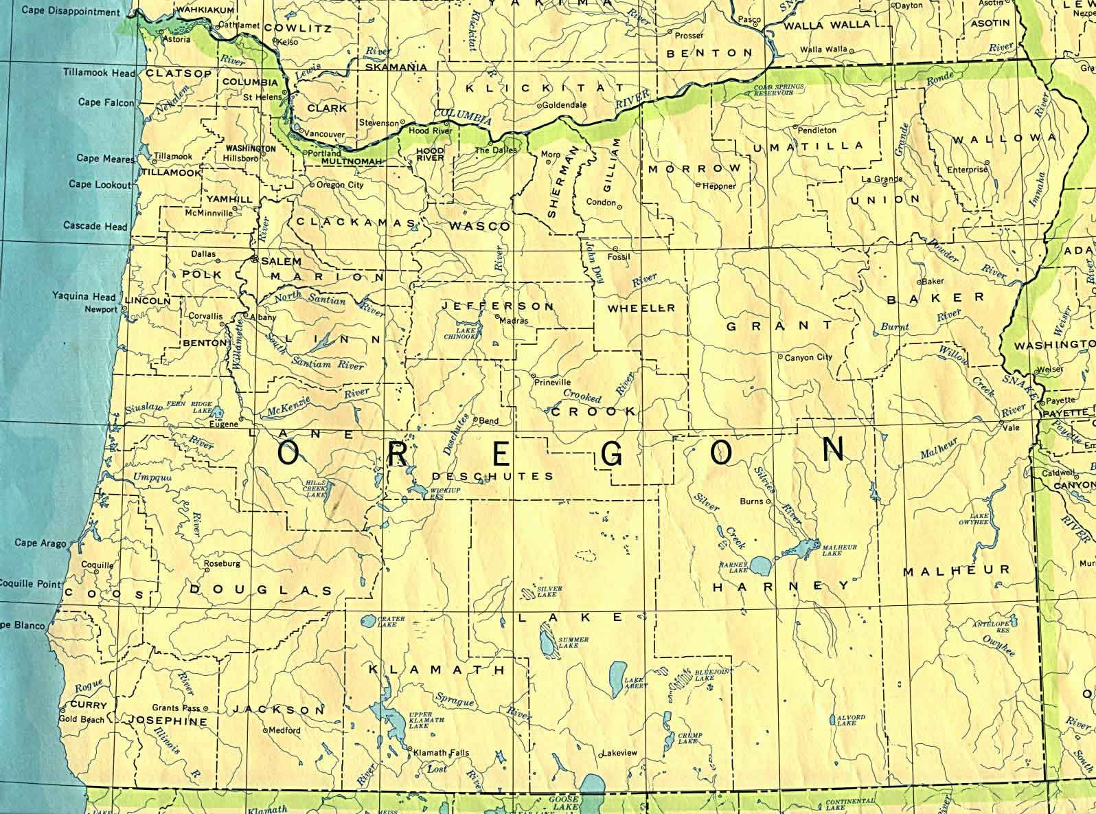 Old Historical City County And State Maps Of Oregon