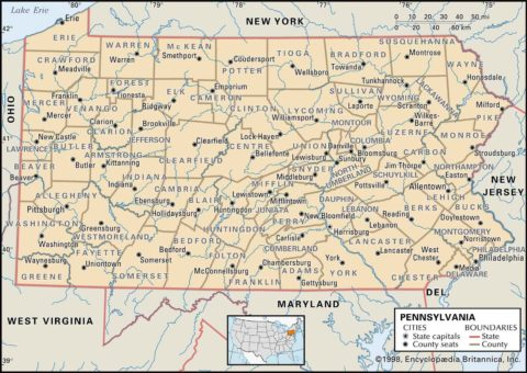 State Map of Pennsylvania County Boundaries and County Seats