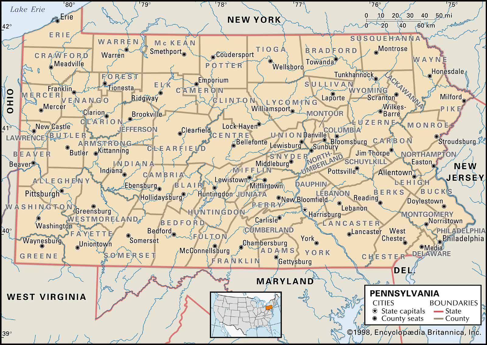 Old Historical City, County and State Maps of Pennsylvania ...
