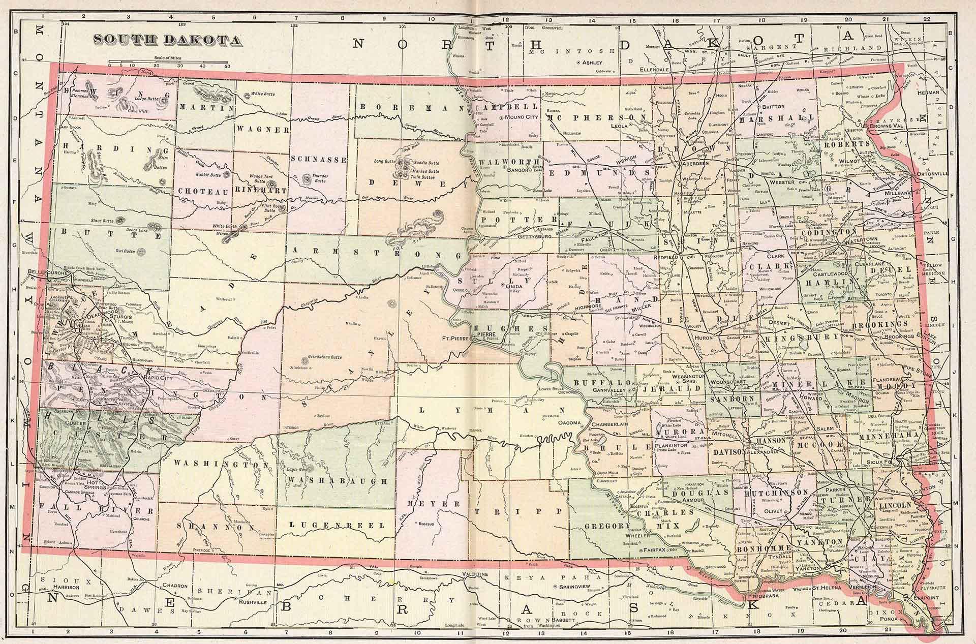south dakota public land map Old Historical City County And State Maps Of South Dakota south dakota public land map