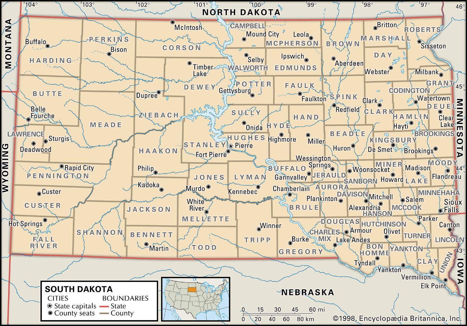 north and south dakota map Old Historical City County And State Maps Of South Dakota north and south dakota map