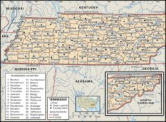 State Map of Tennessee state with the counties and the county seats