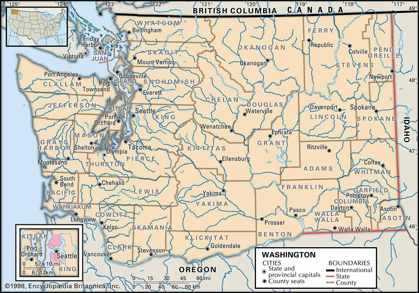 Old Historical City, County and State Maps of Washington on lafayette la state map, las vegas nv state map, kent wa city limits map,