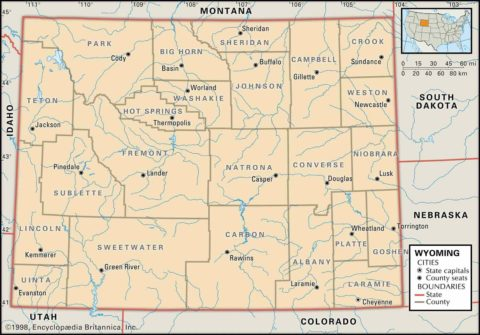 Map of Wyoming County Boundaries and County Seats
