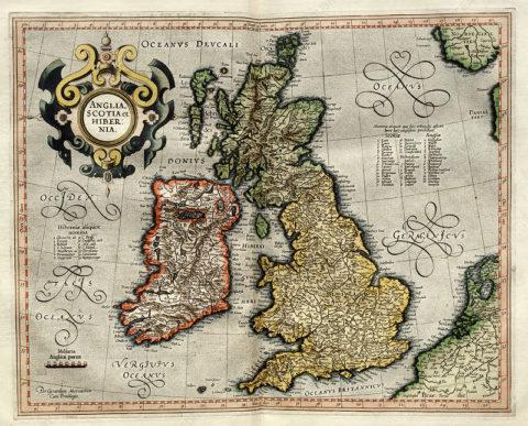 Map of the British Isles from Atlas sive Cosmographicae meditationes de fabrica mundi et fabricati figura 1595