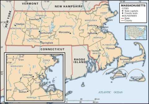 State Massachusetts County Map of Boundaries and County Seats