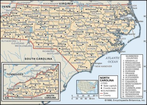 State Map of New Carolina County Boundaries and County Seats