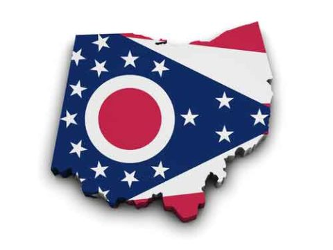 State Map of Ohio Flag